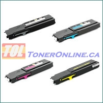 Dell 593-BBU-593-BBBR (RD80W-YR3W3) Compatible Toner Cartridge 4 Color Set for Color Laser C2660dn, C2665df